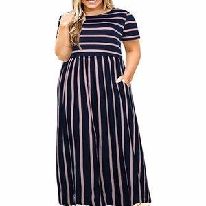 🆕Plus Size Maxi Dress with Pockets -Navy Striped